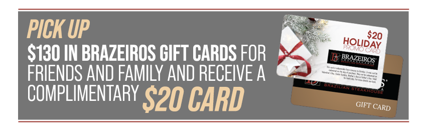 Get a complimentary $20 gift card when you buy $125 of gift card for friends of family